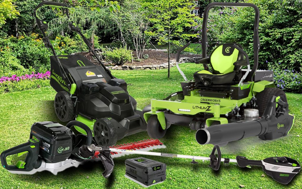 A photo of Greenworks Commercial Electric Equipment. Showcases everything from a string trimmer to a commercial zero-turn mower