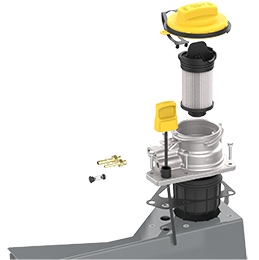 Oil guard System expanded to show Filter, Cap and internal components