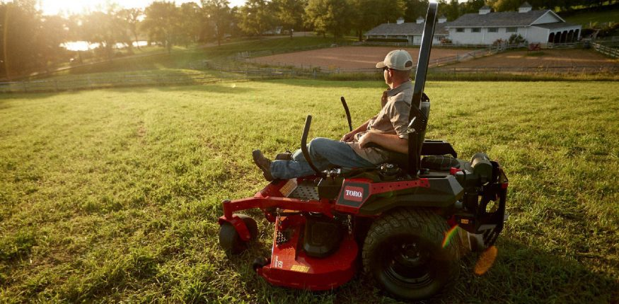 A mower equipped with mulching blades