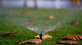 sprinkler system watering the grass