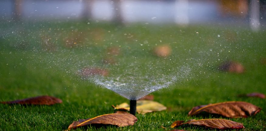 sprinkler system watering the grass